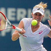 August 21, 2014, New Haven, CT:<br /> Alison Riske hits a forehand during a match against Magdalena Rybarikova on day seven of the 2014 Connecticut Open at the Yale University Tennis Center in New Haven, Connecticut Thursday, August 21, 2014.<br /> (Photo by Billie Weiss/Connecticut Open)