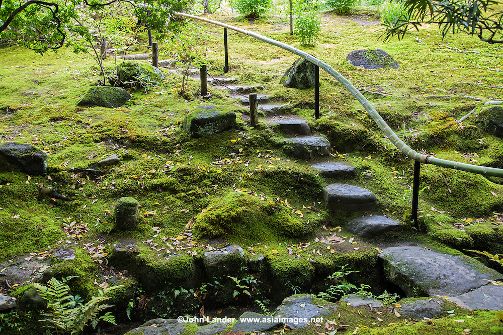 Stepping stones are called tobi-ishi in Japanese, literally skipping stones or flying stones. Walking on a stepping stone pathway the visitor has to make tiny leaps to get from one stone to another. Stepping stone paths force visitor to go in line, one after the other. This is one reason why tea gardens often have stepping stones.  While walking down the path to the tea house, the guests have time to properly arrive in the garden, leave their everyday lives behind and mentally and spiritually prepare for the eminent tea ceremony.