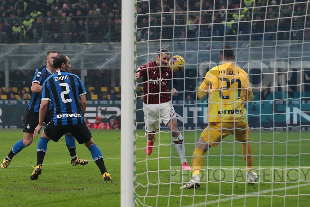 Zlatan Ibrahimovic of AC Milan heads the ball past Daniele Padelli of Inter to give the side a 2-0 lead during the Serie A match at Giuseppe Meazza, Milan. Picture date: 9th February 2020. Picture credit should read: Jonathan Moscrop/Sportimage