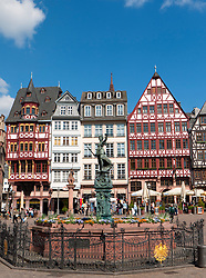 Romer Square with historic timbered houses  and Justitia fountain at Frankfurt am Main in old town Germany