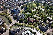 Nederland, Amsterdam, Amsterdam-Oost, 12-05-2009; Mauritskade met links Tropenmuseum en op het tweede paln Oosterpark. Linksonder Alexanderplein met Muiderpoort .Swart collectie, luchtfoto (toeslag); Swart Collection, aerial photo (additional fee required).foto Siebe Swart / photo Siebe Swart