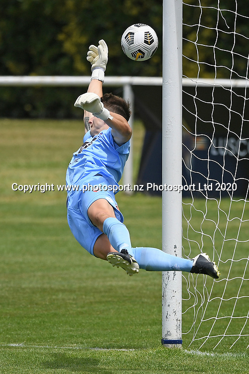 Waitakere United's Nicholas Ross Draper makes a save in the Handa Premiership football match, Hawke's Bay United v Waitakere United, Bluewater Stadium, Napier, Sunday, December 20, 2020. Copyright photo: Kerry Marshall / www.photosport.nz