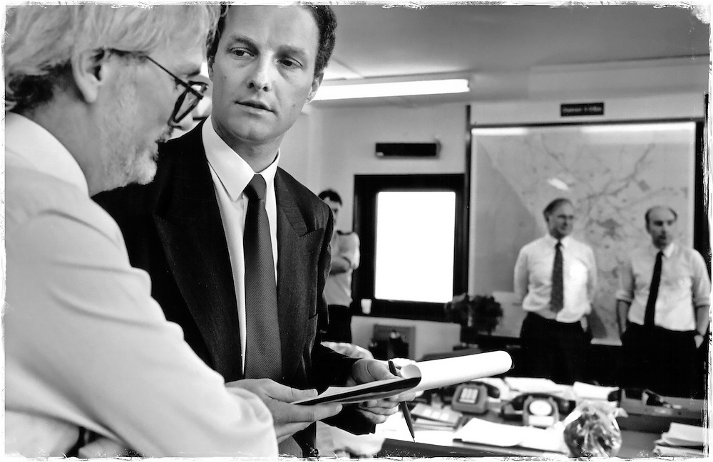 Sellafield, Cumbria. An emergency exercise set by the Nuclear Installations Inspectorate. Laurence Williams (left) - Her Majesty's Chief Inspector of Nuclear Installations - overseas the exercise.
