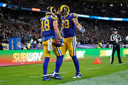 Touchdown, LA Rams Wide Receiver Cooper Kupp (18) scores with a 65 yard touchdown pass during the International Series match between Los Angeles Rams and Cincinnati Bengals at Wembley Stadium, London, England on 27 October 2019.