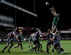 Ultan Dillane of Connacht claims the lineout<br /> <br /> Photographer Simon King/Replay Images<br /> <br /> Guinness PRO14 Round 7 - Ospreys v Connacht - Friday 26th October 2018 - The Brewery Field - Bridgend<br /> <br /> World Copyright © Replay Images . All rights reserved. info@replayimages.co.uk - http://replayimages.co.uk