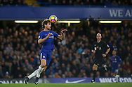 Marcos Alonso of Chelsea heads the ball . Premier league match, Chelsea v Manchester United at Stamford Bridge in London on Sunday 5th November 2017.<br /> pic by Kieran Clarke, Andrew Orchard sports photography.