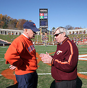 Virginia head coach Al Groh, left, talks with Virginia Tech head coach Frank Beamer before the start of the game Saturday November 19, 2005 at Scott Stadium in Charlottesville, Va. ( Photo/The Daily Progress/Andrew Shurtleff)