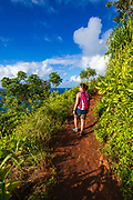 Hiking the Kalalau Trail on the Na Pali Coast, Kauai, Hawaii USA