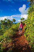 Hiking the Kalalau Trail on the Na Pali Coast, Kauai, Hawaii USA