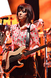© Licensed to London News Pictures. 01/04/2016. Bass guitarist SIMONE BUTLER of Primal Scream play at The London Palladium as part of their UK Tour. London, UK. Photo credit: Ray Tang/LNP
