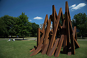 Frieze Sculpture 2017 opens to the public on July 5th 2017 in the English Gardens in Regents Park, London, England, United Kingdom. This is London's largest showcase of major outdoor works by leading artists and galleries, presenting a free outdoor exhibition for London and its international visitors throughout the summer months. Bernar Venet, 17 Acute Unequal Angles 2016.