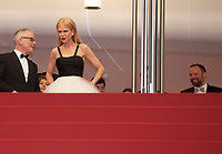 Thierry Frémaux,  Nicole Kidman and Yorgos Lanthimos emerge from the top of the red steps after at The Killing of a Sacred Deer gala screening at the 70th Cannes Film Festival Monday 22nd May 2017, Cannes, France. Photo credit: Doreen Kennedy