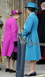 Queen Elizabeth II and the Princess Royal arrive for the Easter Mattins Service at St George's Chapel, Windsor Castle, Windsor.