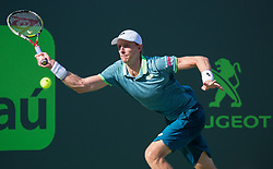 March 29, 2018 - Key Biscayne, Florida, United States - Kevin Anderson, from South Africa, in action against Pablo Carreno Busta, from Spain, during his quarter final match at the Miami Open in Key Biscayne in Miami, on March 29, 2018. (Credit Image: © Manuel Mazzanti/NurPhoto via ZUMA Press)