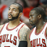 14 March 2012: Chicago Bulls power forward Carlos Boozer (5) talks to Chicago Bulls small forward Luol Deng (9) during the Chicago Bulls 106-102 victory over the Miami Heat at the United Center, Chicago, Illinois, USA.