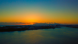 Sunset as we depart from Honolulu on Oahu's south shore