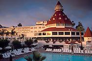 Sunset light on the historic Hotel Del Coronado, Coronado Island, San Diego, California