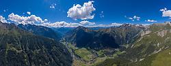 THEMENBILD - Panoramaansicht Kalsertal im Sommer, August, Wolken am Blauene Himmel, Arnig bis Burg Taurer. Kals, Österreich am Freitag den 21. August 2020 // Panoramic view of Kalsertal in summer, August, clouds in the blue sky, Arnig to Taurer Castle. Kals, Austria on Friday 21 August 2020. Kals, Austria on Friday August 21, 2020 EXPA Pictures © 2020, PhotoCredit: EXPA/ Johann Groder<br /> <br /> ***** ACHTUNG - dieses Bilddatei ist für den Grossformatdruck in einer maximalen Grösse mit mehr als 16000 x 6000 pixel (ca. 600 MB) verfügbar! Fragen Sie nach den hochauflösenden Daten. // ATTENTION - This image file is for Large Format Printing available in a maximum size of more then 16000 x 6000 pixels (about 600 MB)! Ask for the high-resolution data. *****