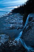 The beach from the top of Tsusiat Falls at dusk, West Coast Trail, British Columbia, Canada.
