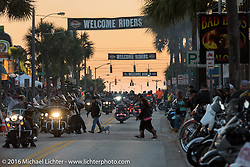 The sun sets on Main Street after the first official day of the Daytona Bike Week 75th Anniversary event. FL, USA. Saturday March 5, 2016.  Photography ©2016 Michael Lichter.