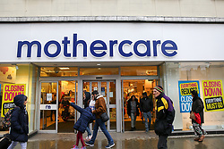 © Licensed to London News Pictures. 09/11/2019. London, UK. Members of public walk past the closing down posters on display at Mothercare store on Wood Green High Road in north London as the company prepares to close all its 79 stores in the UK with the loss of more than 2,800 jobs. The baby and maternity retailer appointed administrators from the advisory firm PricewaterhouseCoopers last Tuesday. Photo credit: Dinendra Haria/LNP