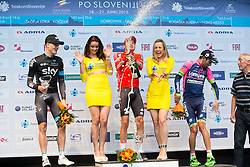 Second placed PUCCIO Salvatore (Italy) of Team Sky, playboy model Manja Dobrilovic, Winner OVECHKIN Artem (Russia) of Rusvelo, playboy model Katarina Bencek  and third placed ULISSI Diego (Italy) of Team Lampre - Merida celebrate during flower ceremony after the Stage 1 of 22nd Tour of Slovenia 2015 - Time Trial 8,8 km cycling race in Ljubljana  on June 18, 2015 in Slovenia. Photo by Vid Ponikvar / Sportida