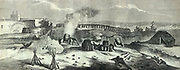 French invervention in Mexico:  Battle of Puebla, 5 May 1862 (Battle of Cinco de Mayo). The French under General Charles Lorencez were decisively by the Mexican army under General Ignacio Zaragoza.    French mortar battery receiving incoming fire.