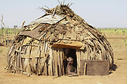 Leaf covered hut of the Daasanach tribe. Photographed in the Omo Valley, Ethiopia