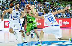 Zoran Dragic of Slovenia between Yannis Bourousis of Greece and Kostas Kaimakoglou of Greece during basketball match between Slovenia vs Greece at Day 5 in Group C of FIBA Europe Eurobasket 2015, on September 9, 2015, in Arena Zagreb, Croatia. Photo by Vid Ponikvar / Sportida
