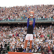 2017 French Open Tennis Tournament - Day Fifteen. Rafael Nadal of Spain with the trophy after defeating Stan Wawrinka of Switzerland in the Men's Singles Final match on Philippe-Chatrier Court at the 2017 French Open Tennis Tournament at Roland Garros on June 11th, 2017 in Paris, France.  (Photo by Tim Clayton/Corbis via Getty Images)