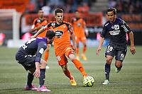 Maxime BARTHELME / Oscar TREJO - 18.04.2015 - Lorient / Toulouse - 33eme journee de Ligue 1<br />Photo : Vincent Michel / Icon Sport