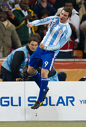 Gonzalo Higuain of Argentina celebrate after he scored during the 2010 FIFA World Cup South Africa Round of Sixteen match between Argentina and Mexico at Soccer City Stadium on June 27, 2010 in Johannesburg, South Africa. Argentina defeated Mexico 3-1 and qualified for quarterfinals. (Photo by Vid Ponikvar / Sportida)