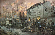 L'Automobile Pendant la Guerre'.  French motorised ambulances and walking wounded towards the end of WWI. After watercolour  French war artist Georges Scott (1880-1947).    CLEAR COPYRIGHT.