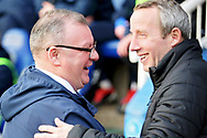 Peterborough manager Steve Evans greets    Charlton manager Lee Bowyer before the EFL Sky Bet League 1 match between Peterborough United and Charlton Athletic at London Road, Peterborough, England on 26 January 2019.