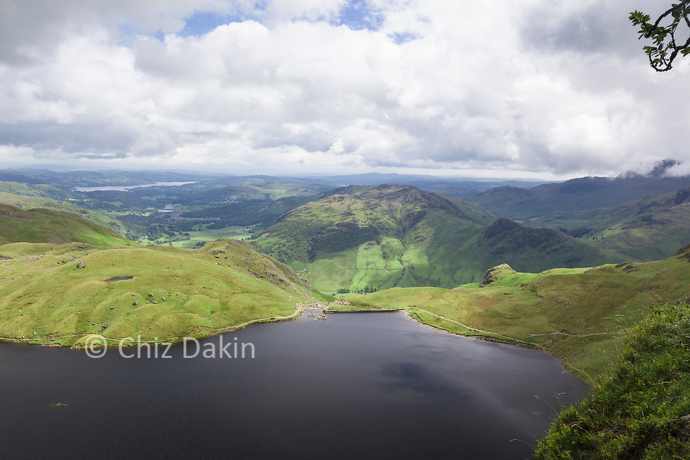 Fantastic view over Stickle Tarn from the small ledge by the first rowan tree