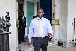 © Licensed to London News Pictures. 05/07/2013. London, UK. Duwayne Brooks, friend of murder victim Stephen Lawrence, is seen leaving Whitehall in London today (05/07/2013) after meeting with British Deputy Prime Minister Nick Clegg, over allegations that the Metropolitan Police Service bugged meetings between themselves, Brooks and his lawyers in an effort to smear the Lawrence family and their friends. Photo credit: Matt Cetti-Roberts/LNP