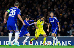 Oscar of Chelsea vs Marcos Tavares of Maribor during football match between Chelsea FC and NK Maribor, SLO in Group G of Group Stage of UEFA Champions League 2014/15, on October 21, 2014 in Stamford Bridge Stadium, London, Great Britain. Photo by Vid Ponikvar / Sportida.com