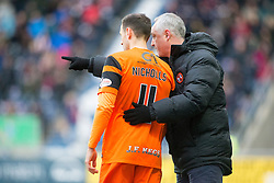 Dundee United's Alex Nicholls and Dundee United's manager Ray McKinnon. Falkirk 3 v 0 Dundee United, Scottish Championship game played 11/2/2017 at The Falkirk Stadium.