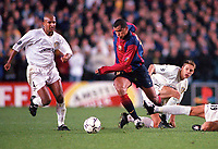 Rivaldo (Barcelona) leaves Olivier Dacourt and Alan Smith (Leeds) in his wake. Leeds United v Barcelona. European Champions League, Group H, 24/10/00. Credit: Colorsport / Andrew Cowie.