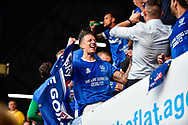 Portsmouth league two champions on the final day flag Portsmouth Midfielder, Carl Baker (7)during the EFL Sky Bet League 2 match between Portsmouth and Cheltenham Town at Fratton Park, Portsmouth, England on 6 May 2017. Photo by Adam Rivers.