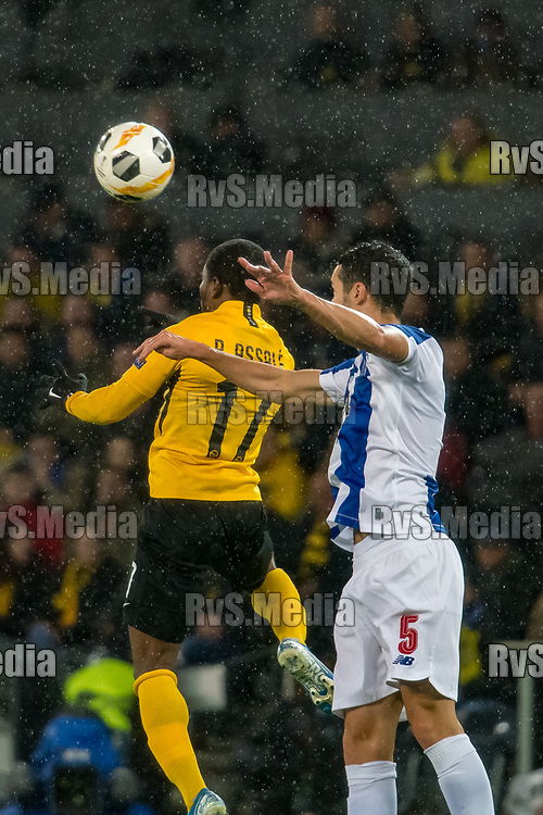 BERN, SWITZERLAND - NOVEMBER 28: #17 Roger Assale of BSC Young Boys battles for the ball with #5 Ivan Marcano of FC Porto during the UEFA Europa League group G match between BSC Young Boys and FC Porto at Stade de Suisse, Wankdorf on November 28, 2019 in Bern, Switzerland. (Photo by Basile Barbey/RvS.Media)