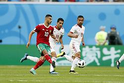 (l-r) Younes Belhanda of Morocco, Vahid Amiri of IR Iran, Omid Ebrahimi of IR Iran