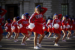 © London News Pictures. 01/01/2013. London, UK.  All American cheerleaders and dancers from the USA take part in the 2012 New Years Parade through the centre London on January 1st, 2013. Photo credit : Ben Cawthra/LNP