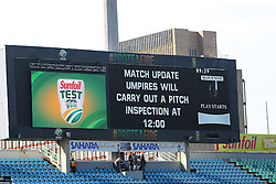 General views as umpires inspect the outfield after overnight rains yielded 65mm of rain. The super sopper dryer was brough out and next umpire is scheduled for 12h00. The first session of Day 3 is now lost due to wet outfileds during day three of the first test match between South Africa and New Zealand held at the Kingsmead stadium in Durban, KwaZulu Natal, South Africa on the 21th August 2016<br /> <br /> Photo by:   Anesh Debiky / Real Time Images