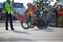 Amalie Dideriksen (DEN) of Boels-Dolmans Cycling Team rides to the start of the Crescent Vargarda - a 42.5 km team time trial, starting and finishing in Vargarda on August 11, 2017, in Vastra Gotaland, Sweden. (Photo by Balint Hamvas/Velofocus.com)
