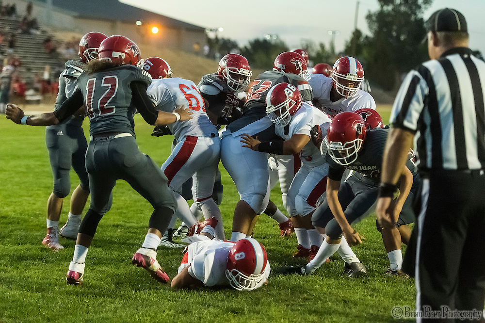 \s8\runs for a touchdown making the score 21-0 after the point after attempt was good during the first quarter as the San Juan Spartans host the Mira Loma Matadors, Friday Sep 16, 2016.<br /> photo by Brian Baer