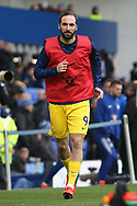 Chelsea forward Gonzalo Higuain (9) warming up during the Premier League match between Everton and Chelsea at Goodison Park, Liverpool, England on 17 March 2019.