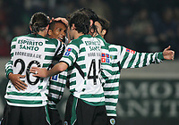 """PORTUGAL - LISBOA 08 JANUARY 2005: LIEDSON #31 is complimented by his squad colleagues after scoring Sporting first goal, in the 16¼ leg of the Super Liga, season 2004/2005, match  Sporting CP vs SL Benfica (2 - 1), held in """"Alvalade XXI"""" stadium,  08/01/2005  22:14:07<br />(PHOTO BY: NUNO ALEGRIA/AFCD)<br /><br />PORTUGAL OUT, PARTNER COUNTRY ONLY, ARCHIVE OUT, EDITORIAL USE ONLY, CREDIT LINE IS MANDATORY<br /> AFCD-PHOTO AGENCY 2005 © ALL RIGHTS RESERVED"""