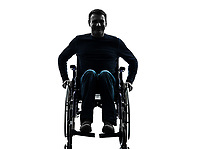 one handicapped man smiling friendly in silhouette studio on white background
