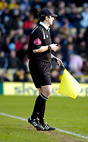 Photo: Alan Crowhurst.<br />Watford v Cardiff City. Coca Cola Championship. 25/02/2006. The linesman wears a cap on a sunny day.